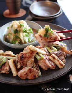 Yakitori - Grilled chicken & white scallion with grated daikon radish & ponzu vinegar おろし焼き鳥