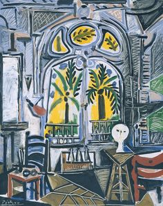 "Pablo Picasso - The Studio, 1955. Oil on canvas We'd call this a ""Resort Chic - Space"" by Picasso!"