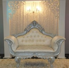 Silver/Gold Malay Ornate Double Love Couch available for hire at Wedstyle. www.wedstyle.com.au #wedding #furniture #couch #love #silver #gold