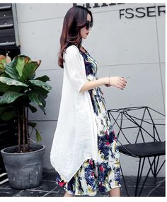 Two Piece Cotton Linen Dress Cute Sandals, Two Piece Dress, Cotton Linen, Plus Size Dresses, Kimono Top, Stylish, Pretty, Sleeves, Tops