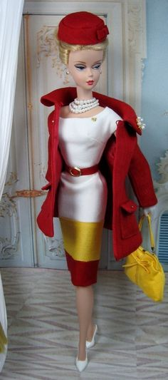 Red Royalty for Silkstone Barbie... all kinds of perfect! A Red swing jacket with a matching striped dress. Red pillbox hat and yellow custom purse. So pretty!