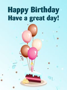 Birthday Balloons & Cake Card. Have you ever gotten birthday balloons? It's so nice, isn't it? Balloons are one of the necessary items on any birthday parties. This card illustrates birthday balloons with a birthday cake. Why does it need to have a birthday cake? Because it is also an important item to celebrate a birthday!