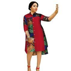 Women Maxi Dress African Print Dresses for Women Three-Quter Sleeve Dress Women