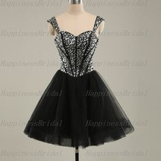 New Ball gown Straps Sleeveless Above the knee Tulle Short Bridesmaid Dress Prom Dress Formal Evening Dress Party Dress 2014 With Beading