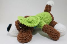 LAZY Daisy crochet Dog  brown and white body  by WowWeeCreations, $28.00