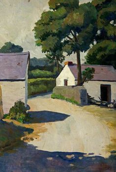 John Elwyn - Rural Road with Farm Buildings Notice the use of 3 kinds of white + purple Road Painting, Building Painting, Building Art, Watercolor Landscape, Abstract Landscape, Landscape Paintings, Watercolour, Farm Paintings, Lee Miller