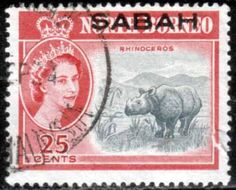 Sabah 1964 Animal Rhinoceros Fine Used SG 415 Scott 8 Other Asian and British Commonwealth Stamps HERE!