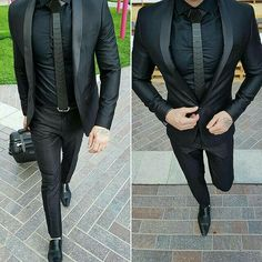 men suits casual -- CLICK VISIT link above for more info Mens Fashion Suits, Mens Suits, Terno Slim, Moda Formal, Designer Suits For Men, Look Man, Herren Outfit, Total Black, Black Suits