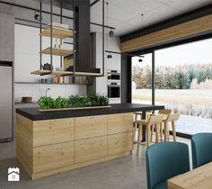 dom pasywny w Nałęczowie - Duża otwarta kuchnia jednorzędowa z wyspą, styl industrialny - zdjęcie od INSIDEarch