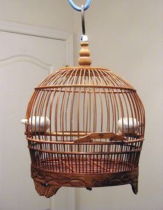 Decorative Vintage Chinese Bamboo Bird Cage with Two White and Blue Bird Feeders