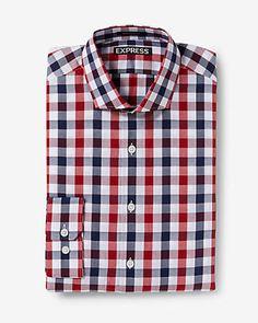 modern fit small check dress shirt