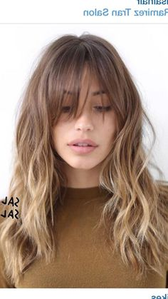 Long bangs with waves in gentle ombre
