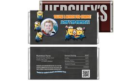 Chalkboard Despicable Me 2 Minions Birthday Candy Bar Wrappers Party Favors