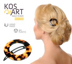 Our classic hair clip has a boule clasp, making it an excellent choice for thin hair. Made of 100% cellulose acetate, without metal parts, this hair clip is hypoallergenic healthy fashion accessory. Made in France this elegant hair clip combines brown/ amber colors and circle shape.  #hairaccessories #hairclips #kosmart #celluloseacetate