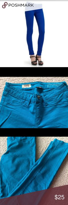 Sold Design Lab Spring Street Skinny Jeans Bright blue pull-on skinny jeans. Functional button, but no zipper Sold Design Lab Jeans Skinny