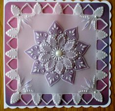 Lovely shades of lilac for this one. Doily Rug, Doilies, Barbara Gray Blog, Butterfly Dragon, Monarch Butterfly, Parchment Cards, Butterfly Template, Silk Ribbon Embroidery, Animal Cards