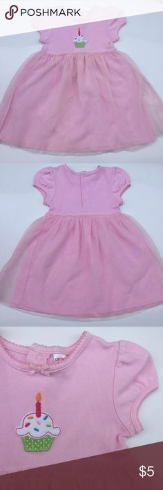 "🎈Carter's Pink Birthday Dress with Tulle Skirt 1st or 2nd Birthday Cupcake w/candle 🎂 Birthday Dress by Carter's🎈🎉  Size 24mo - 20"" long.   Pretty dress with a layer of tulle over skirt area 💖Embroidered cupcake with candle on the front Excellent condition🎂 Carters Dresses"