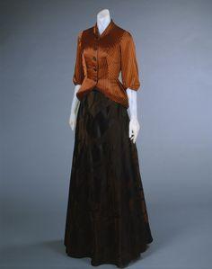 Evening dress & jacket (image 1) | House of Schiaparelli | Paris | Spring 1948 | silk satin, rayon | Philadelphia Museum of Art | Accession #: 1969-232-30a,b