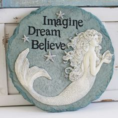 Enchanted Mermaid Stepping Stone - Imagine, Dream, Believe - Inspirational & Nautical Garden Decor - California Seashell Company