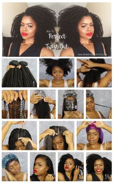 How To Achieve The Perfect Twist Out #naturalhair #twistout #twists Cute Natural Hairstyles, Protective Hairstyles For Natural Hair, Natural Hair Twists, Long Natural Hair, Natural Hair Styles For Black Women, Black Women Hairstyles, Natural Hair Tutorials, Twist Outs, Wedding Hairstyles