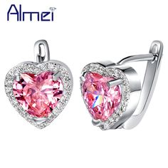 Find More Stud Earrings Information about brincos para as mulheres,18 K White Gold Plated Pink Earrings for Wedding Bridal,brincos de casamento,silver 925 earrings R719,High Quality jewelry made of wood,China jewelry lingerie Suppliers, Cheap jewelry shop from Almei Jewelry Store on Aliexpress.com