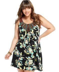American Rag Plus Size Dress, Sleeveless Printed Beaded - Plus Size Dresses - Plus Sizes - Macy's
