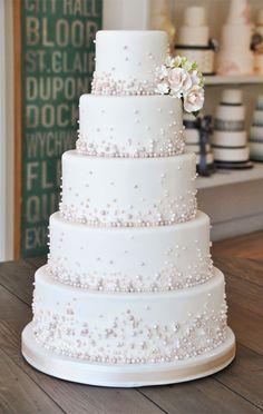 we ❤ this!  moncheribridals.com  #weddingcake #whiteweddingcake #pearlweddingcake