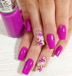 Unghii en 2019 nails, gel nails y acrylic nails. Purple Nail Art, Pretty Nail Art, Pink Nails, Colorful Nail Designs, Toe Nail Designs, Colorful Nails, Nails Design, Nail Manicure, Toe Nails