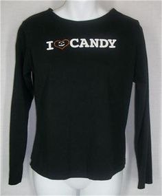 FASHION BUG Top Medium Black Long Sleeve I Love Candy Halloween Cotton M Solid #FashionBug #KnitTop