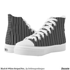 Black & White Striped Pattern High Top Shoes