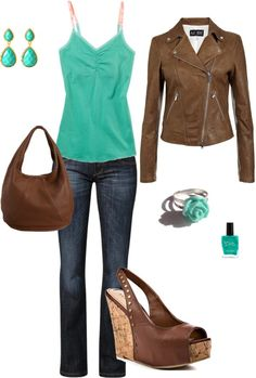 """""""Fall Back and Spring Forward"""" by hellotiffy on Polyvore I am a sucker for leather jackets!"""