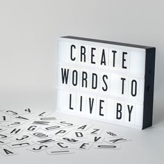Inspired by retro cinema signs, My Cinema Lightbox is a new way to show your creativity! Slide the interchangeable clear plastic letters and characters into slots on the front of the light box to crea