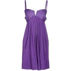 Just Cavalli Short Dress ($165) ❤ liked on Polyvore featuring dresses, purple, v neck short dress, purple mini dress, ruffle dress, frilly dress and stretch mini dress