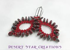 Paisley Beaded Drop Earrings Red Picasso by DesertStarCreations, $24.99