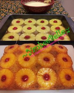 Pineapple Upside Down Cake You Will Need: Yellow or Pineapple Flavored Cake Mix (I prefer Duncan Hines) ; Mix cake per instructions on package. 1/2 cup butter (melted) 1 cup brown sugar 12 pi...