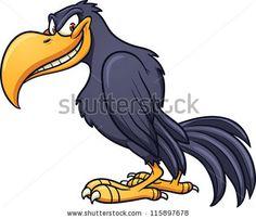 Funny Bird Clip Art | Evil cartoon crow. Vector clip art illustration with simple gradient ...