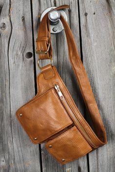 Genuine Leather Two-Pocket Belt Bag