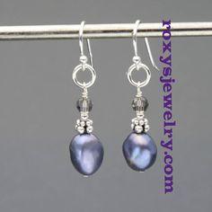 Peacock Freshwater Pearl Dangle Earrings, $34