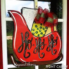 Christmas Sleigh- Can Add Personalization- Wood Cut Out Door Hanger