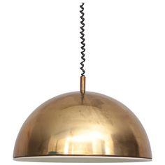 Huge Brass Pendant Lamp from 1960s Italy with White Enamel Inner Shade