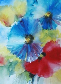 Original Watercolor painting Floral Abstract by veekayart2010,