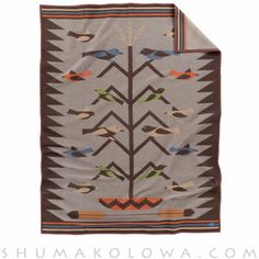 """Pendleton Blanket: Tree of Life II ; The joyful """"Tree of Life"""" pattern is a traditional Navajo rug pictorial design first seen in the and still woven today. Pendelton Blankets, Pendleton Wool Blanket, Pendleton Woolen Mills, Throw Blankets, Blanket Forts, Native American Decor, Indian Blankets, Navajo Rugs, Navajo Weaving"""