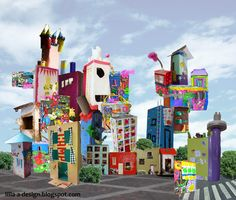 Cityscape sculpture project via - lilla a: Rainbow City - The Exhibition Group Art Projects, Projects For Kids, Diy For Kids, Kids Fun, Cardboard City, Cardboard Houses, Rainbow City, Recycled Art, Recycled Materials