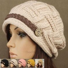 Fashion Women's Kintting Beanie Warm Casual Solid Hat Cap Winter Hats for Girls