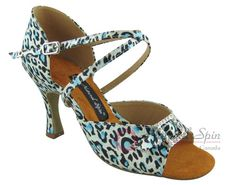 Natural Spin Latin Shoes(Open Toe, Adjustable):  M1112-02_BlueLCS