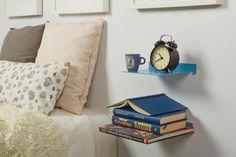 mensole in metallo di design per la camera da letto Floating Nightstand, Throw Pillows, Bed, Interior, Table, Furniture, Design, Home Decor, Google