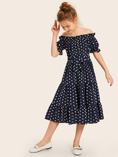 To find out about the Girls Off Shoulder Frill Trim Layered Ruffle Hem Belted Dress at SHEIN, part of our latest Girls Dresses ready to shop online today! Frocks For Girls, Kids Frocks, Girls Dresses, Belted Dress, Dot Dress, Baby Dress, Kids Outfits, Cute Outfits, Tie Front Dress