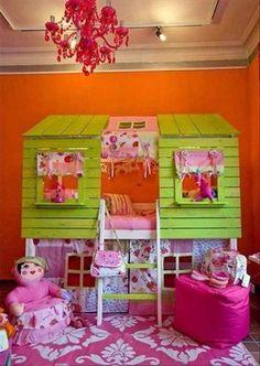 Girls clubhouse bedroom orange pink & green