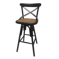Display your classic sense of style with the traditional swivel bar stool. This stool features a swivel seat and contoured back for maximum comfort. The stylish black finish and X-back design will com
