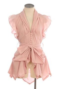 Vintage Pink Blouse Oh how I love love loveee ruffles  When I've lost some weight shirt--->